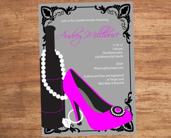 Wine Shoe Ring Custom Shower Bachelorette Party Invitation