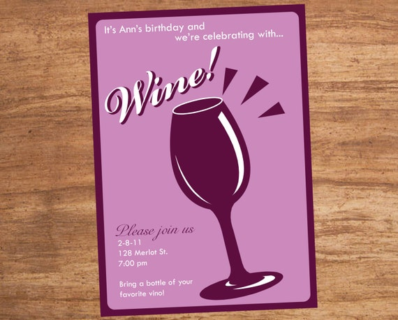 Wine tasting party custom printable invitation stopboris Image collections