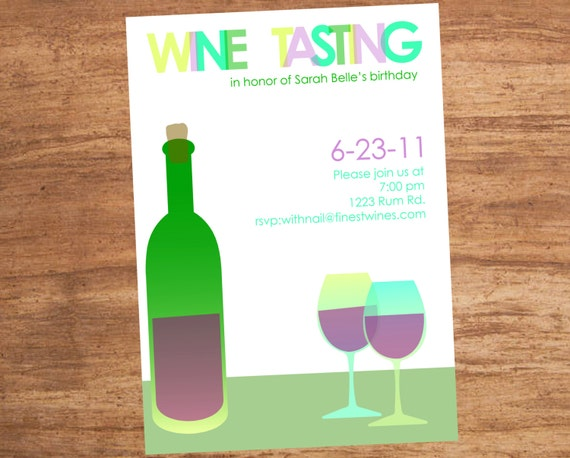 Watercolor Wine Tasting Party Custom Invitation