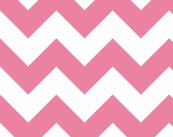 Riley Blake Fabric - Half Yard of Large Chevron in Hot Pink