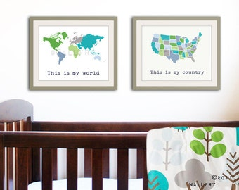 Large world map print SET of 2 map prints. USA map and world map poster wall art for playroom, kids wall art.. Map prints by WallFry