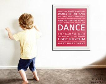 Children inspirational print. Children art typograpy print for playroom decor or nursery art. Kids Wall art DANCE print by Wallfry