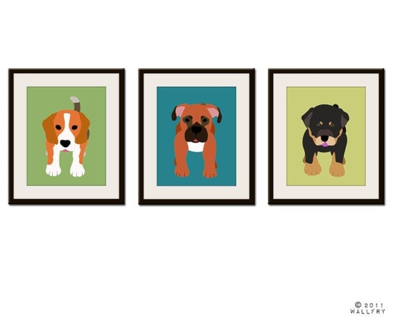 Cute dog prints. Childrens art. Any 3 Dog nursery pictures kids wall art, kids decor. Nursery decor, SET OF 3 prints by WallFry