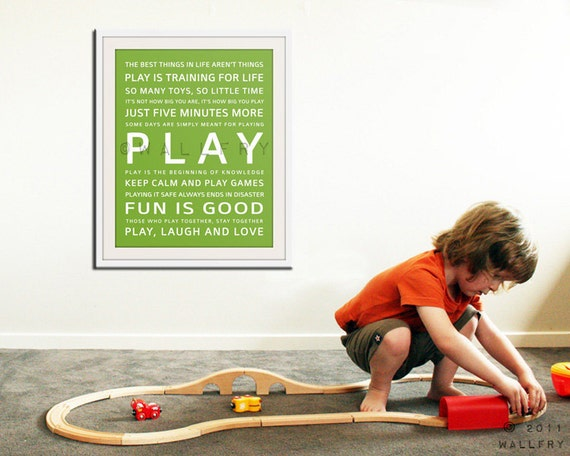 Children art PLAY typography art print for kids. Wall art quotes for playroom decor. Baby nursery art print Art print by Wallfry