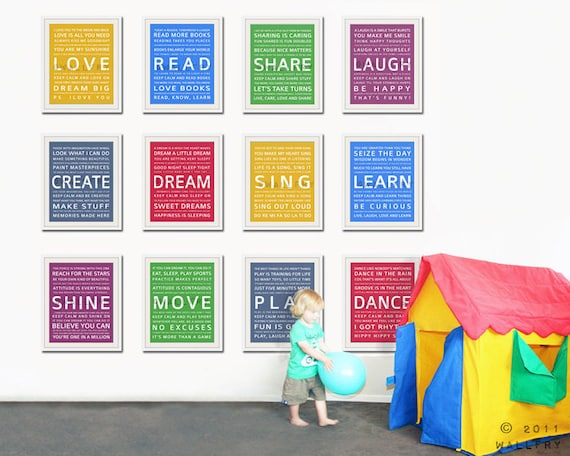 Word art wall art for kids. Playroom prints, playroom wall art for children  Inspiration