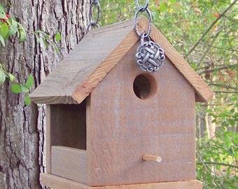 Wooden Bird House Bird Feeder, Reclaimed Wood Bird Feeder, Natural Weathered Wood, Primitive Rustic Bird Feeder