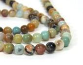 Flower Amazonite 6mm beads, Round natural gemstone, Full & Half Strands (658S)