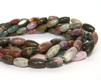 Ocean Jasper gemstone beads, 14mm oval tube,  full & half strands available  (155S)