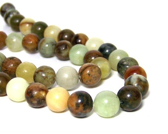 Flower Jade, 10mm round beads, Antiqued New Jade natural serpentine, FULL & HALF strands available  (680S)
