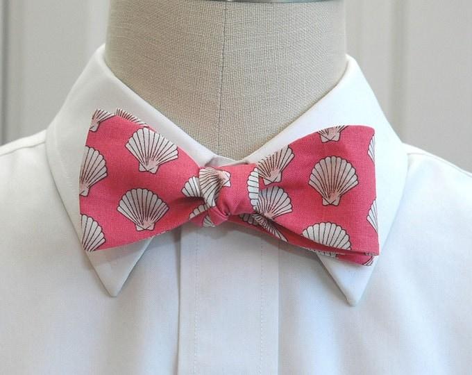 Men's Bow Tie  coral with ivory shells, beach wedding bow tie, groom bow tie, groomsmen gift, Florida bow tie, destination wedding bow tie