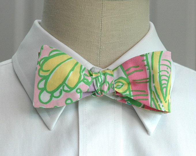 Men's Bow Tie, Chin Chin pink/green/yellow Lilly oriental print, groomsmen/groom bow tie, wedding bow tie, prom bow tie, Kentucky Derby tie