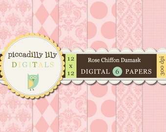 Instant Download - Rose Chiffon Damask -- 12x12 Digital Printable Paper Pack Pink -- Buy 3 Digital Paper Packs Get 1 FREE