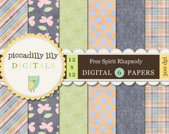 Instant Download - Free Spirit Rhapsody -- 12x12 Digital Printable Scrapbook Paper Pack Periwinkle-- Buy 3 Digital Paper Packs Get 1 FREE