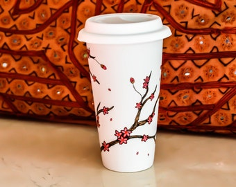 Cherry Blossoms Travel mug - Made to Order - Hand Painted sakura porcelain eco-cup - Red and White Valentine's Day Gift - Silicon lid