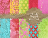 Friendly Flowers 10 pack Digital Scrapbook Textured Paper so bright and cheery pink red blue lime green yellow invitation card birthday