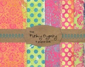 Funky Gypsy Digital Paper Set of 5 textured papers bright colors worn polka dots bright colors damask orange lime green pink yellow blue