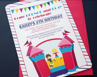 PRINTED Girl's Bounce House Birthday Party Invitations - Digital Version Available