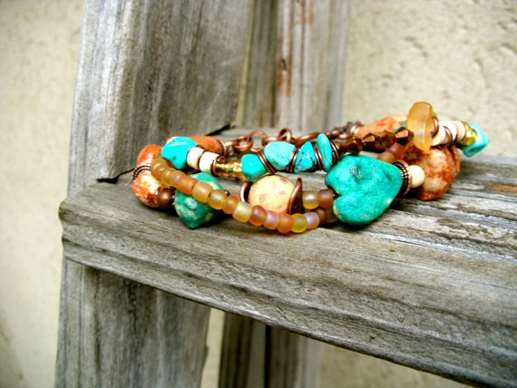Multi Strand Bracelet..Rustic beads...turquoise blue white brown beads...antique chain..stacking bracelet