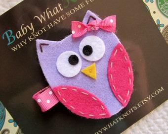 Owl Hair Clip, Purple Owl Hair Clip, Baby Hair Clippies, Owl Barrette, hcowl03