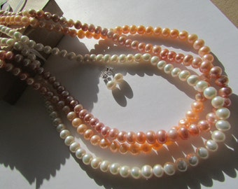 Set of Necklace and Earrings-smooth AAA 3 strandsof  Round White, Peach,Lavender Fresh Water Pearl Necklace