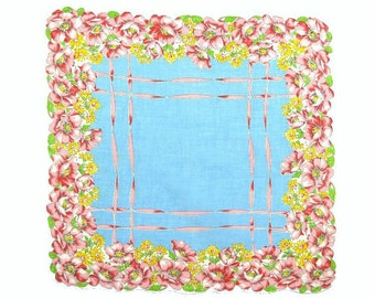 VINTAGE HANKIE, Rose Border, Mid-Century, Single Pink Red Roses, Yellow Daisies, Lt. Blue Center, Ribbon Lattice, Excellent Condition
