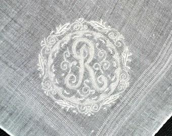 VINTAGE HANKIE, Monogram R Scroll Framed White Embroidery Cotton Pocket Hankie Woven Border Hand Rolled Hem Excellent Condition