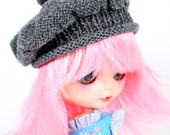 Blythe Doll Knitted Baker Style Winter Hat Grey Gray
