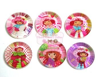 Strawberry Shortcake Cabochons - Wholesale Cabochons - Wholesale Headband Supplies - Set of 6
