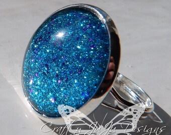 Sparkle Nail Varnish Glass Tile Ring