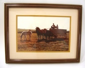 Horses, men, old wagon, South Dakota prairie landscape framed photograph, double matted ready for wall hanging, rustic home or office decor.