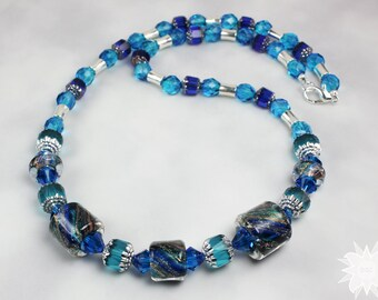 Blue Green Teal Cane Glass Czech Beaded Necklace