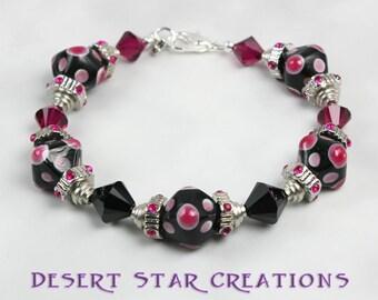 Hot Pink Black Diamond Lampwork and Crystal Bracelet