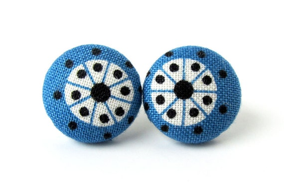Dark blue button earrings - blue fabric earrings - tiny stud earrings - small post earrings white black funky small