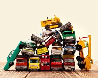 Vintage Matchbox Cars and Trucks Pile With Dozer, Photo Print, Boys Room decor, Boys Nursery Prints