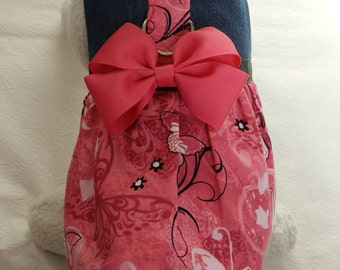 Butterfly BCA Breast Cancer Warrior Pink Ribbon Harness Dress with Bow. Perfect Item for your Cat, Dog or Ferret. All Items Are Custom Made.
