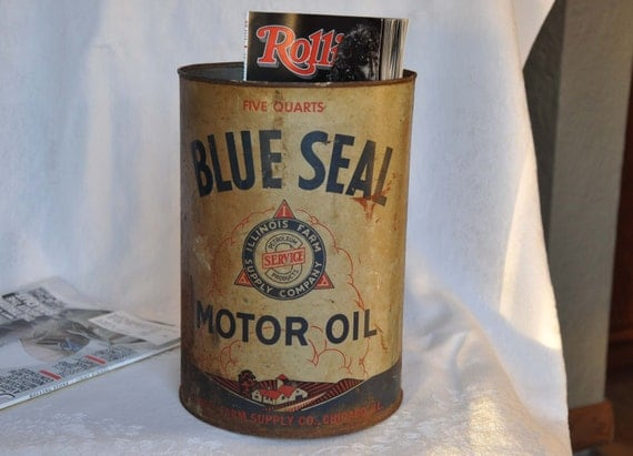 Vintage rustic motor oil 5 quart oil can by thoughtfulbrenda for Motor oil storage container