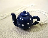 Handmade White Polka Dot Blue Teapot Necklace - Tea Jewelry by Coryographies