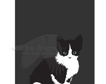pepper 8x10 cute black & white tuxedo kitty