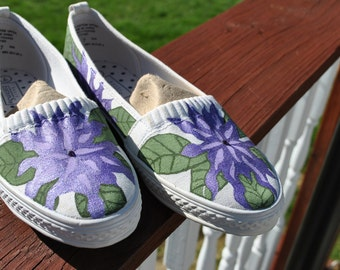ON SALE Great Purple Flower Hand Painted Sneakers size 7