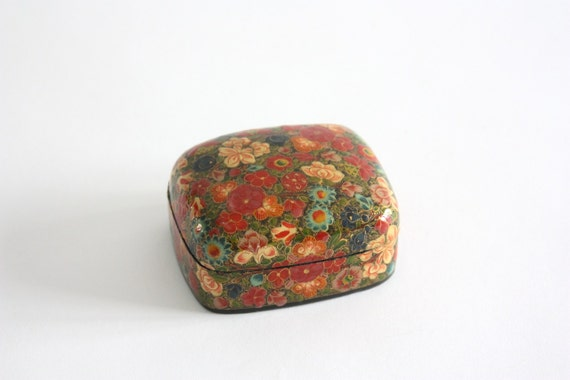 Vintage Lacquered Floral Box