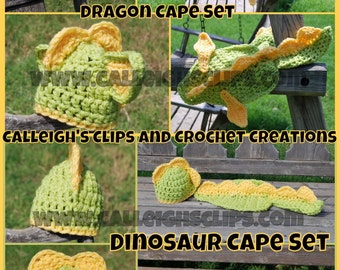 Instant Download Crochet Pattern No. 67 Dragon or Dino Cuddle Cape Set - Newborn Prop