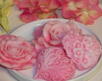 valentine gift soap set, floral hearts, roses glycerin soap scented in victorian rose
