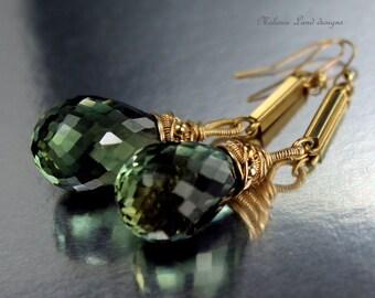 DARBY --- Prasiolite, Green Amethyst, Solid Gold Linear Earrings