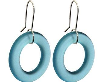 Small Hoop Recycled  Glass Earrings