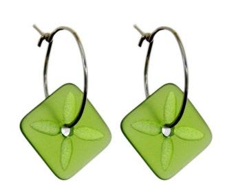 Square Tapa Earrings Green