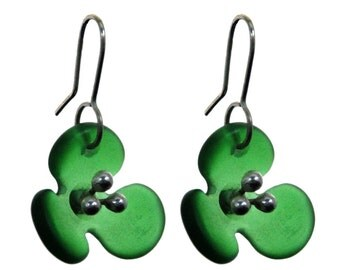 Jagermeister Green Recycled Glass Earrings.