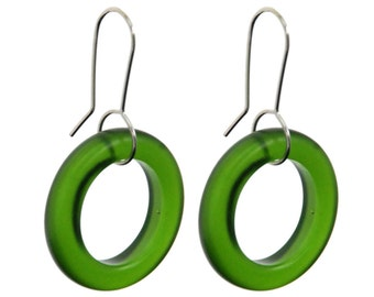 Small Hoop Recycled Green Glass Earrings