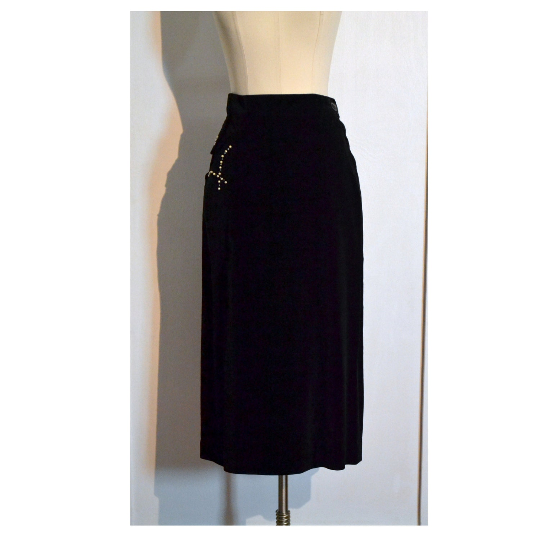 vintage 1950 s pencil skirt slim black velvet wiggle