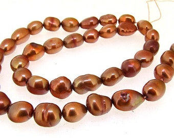 """Rice Freshwater pearl Cultured Pearl Coffee Luster Pearl 7mm-8mm Gemstone Beads Full Strand 15"""""""
