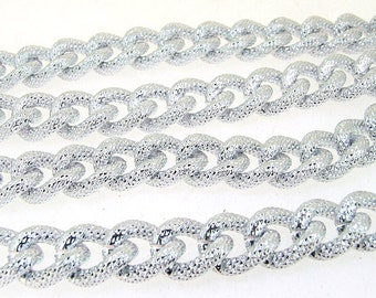 1m 38inch one of  plated silver on aluminum alloy Double Style circle necklace loop one chain deep 4mm loop